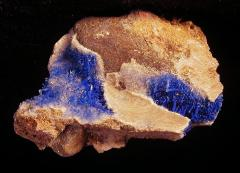Azurite on Selenite
