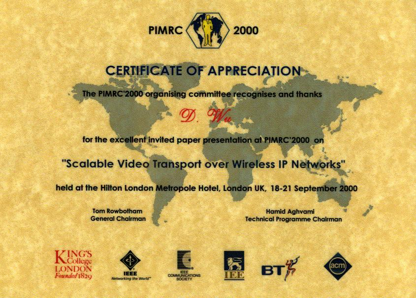 Dapeng oliver wus home page certificate of appreciation yadclub Image collections