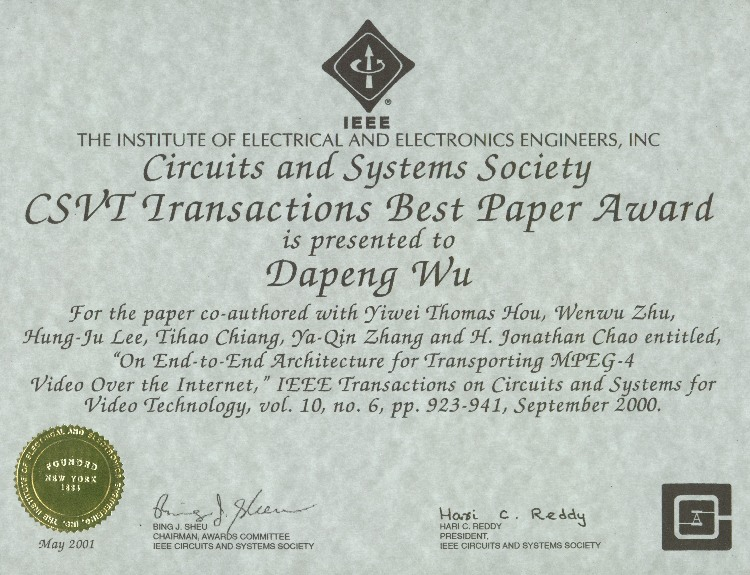 Dapeng oliver wus home page ieee csvt transactions best paper award for year 2001 yelopaper Gallery