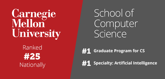 Carnegie Mellon University Ranked #25 Nationally. CMU School of Computer Science Ranked #1 in Graduate Program for Computer Science and #1 for Specialty: Artificial Intelligence