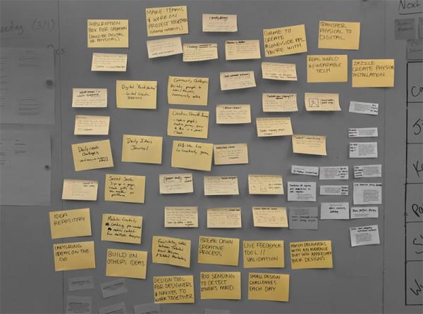 Ideas board used for Zazzle MHCI capstone project.