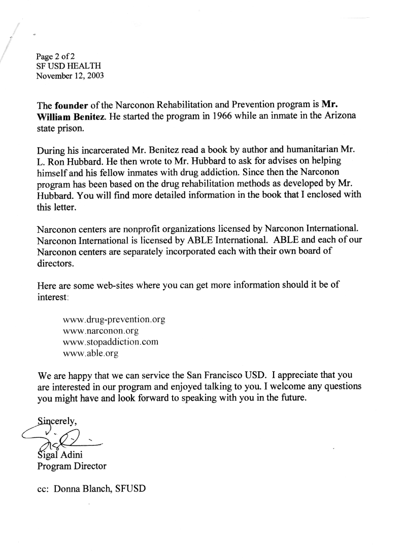 narconon scientology infiltration of the san francisco unified page 1 page 2